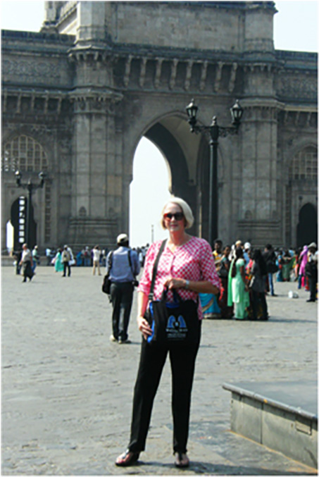 Bag and friend posing in front of The Gateway to India, Mumbai,  April 2014.