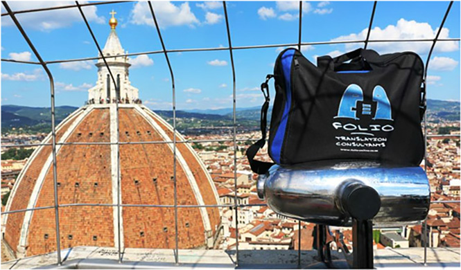 Bag looking down from Giotto's Campanile at Brunelleschi's dome crowning the cathedral of Santa Maria del Fiore in Firenze. Italy, May 2015.