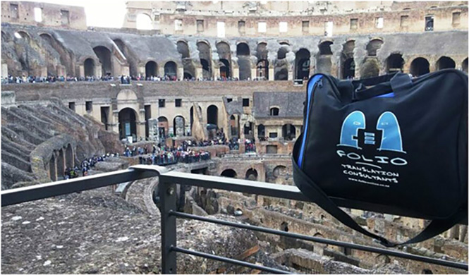 Globe-trotting Bag giving the thumbs up in the Colosseum in Rome. Italy, May 2015.