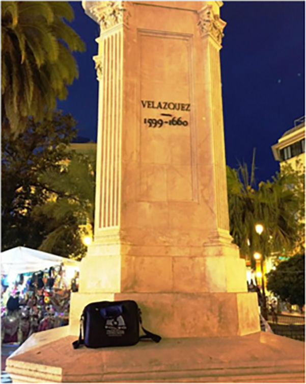 Bag paying homage at the Velazquez memorial in Seville. Spain, March 2015.
