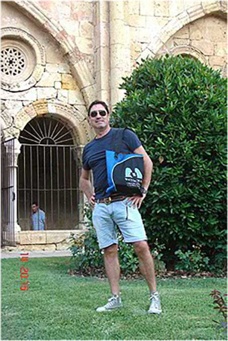 Bag hanging out with a Catalan friend, Tarragona cathedral, Tarragona, July 2012