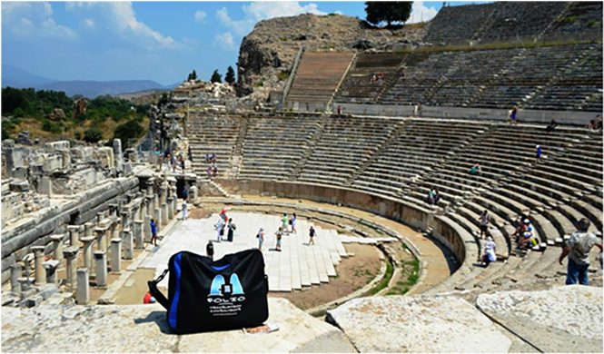 Bag at the ancient amphitheatre at Ephesus, Turkey,  July 2014.