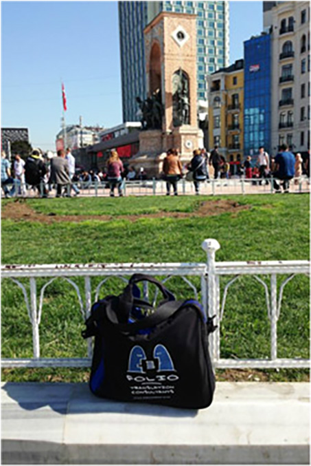 Bag at the Taksim Square Memorial, Istanbul,  March 2014.