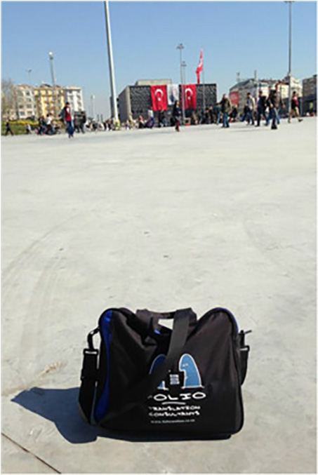 Bag paying homage on Taksim Square, Istanbul, March 2014.