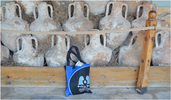 Bag chilling with amphorae in Bodrum Castle. Bodrum, Turkey, July 2013.
