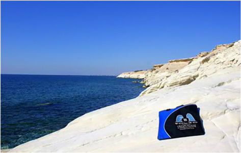 Bag basking on the limestone rocks at the legendary birthplace of Aphrodite, goddess of beauty and love, Cyprus.