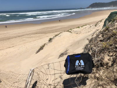 Bag soaking up some New Year's sun on Sedgefield beach, Western Cape, January 2018.