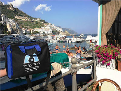 Bag admiring the spectacular view. Amalfi, Italy, July 2015.