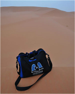 Bag at sunrise over the Sahara desert at Merzouga, Morocco, July 2014.