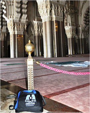 Bag paying his respects in the Hassan II mosque in Casablanca, July 2014.
