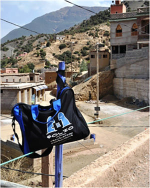 Bag visiting a Berber village in the Atlas mountains outside Marrakech, Morocco, July 2014.