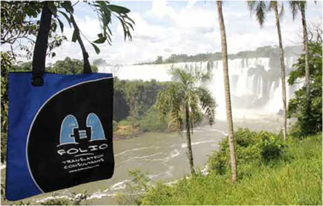 ¡Hola! ¿Cómo estás? Bag takes in the breathtaking view of the   Iguazu Falls on the border of Argentina and Brazil.