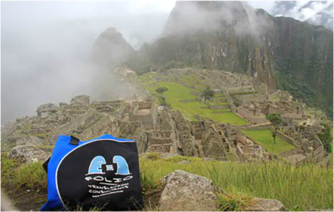 "Bag reaches the top of Peru's Machu Picchu, which means ""Old Peak"" in the Incan language, Quechua."