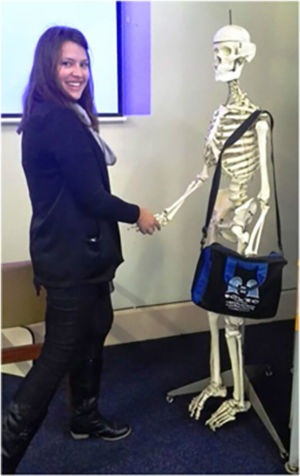 Lauri King meeting skeleton staff member at Somerset Hospital,  Cape Town, May 2015.