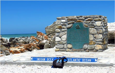 Bag at Aghullas, southern-most tip of the continent of Africa, where the Indian and Atlantic Oceans meet. November 2014.