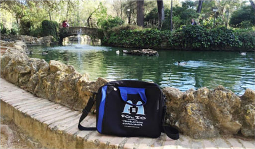 Bag soaking up tranquility in the Maria Luisa Park, Seville, Spain, March 2015.