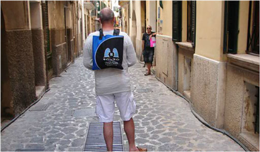 Bag hitching a ride through the Old Town, Palma de Mallorca.