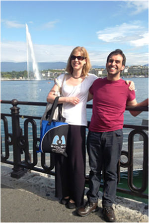 Bag & friends posing in front of the famous Geneva Water Fountain on Lake Geneva, Switzerland, September 2014.