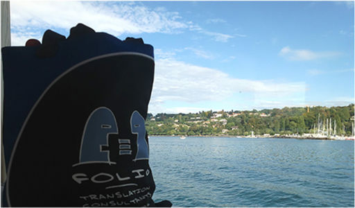 Bag enjoying a boat trip on Lake Geneva, Switzerland, September 2014.