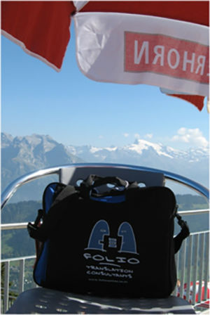 Bag taking in the ravishing view of the Alps from Mount Stanserhorn, Switzerland,  September 2012.