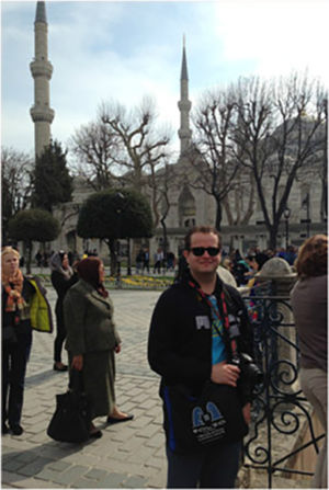 Bag & friend at the Blue Mosque, Istanbul,  March 2014.