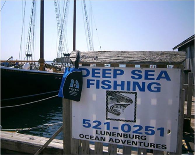 Bag contemplating a fishing trip in Lunenburg, Nova Scotia, Canada, May 2015.
