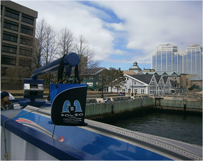 Bag taking the ferry in Halifax, Nova Scotia, Canada, May 2015.