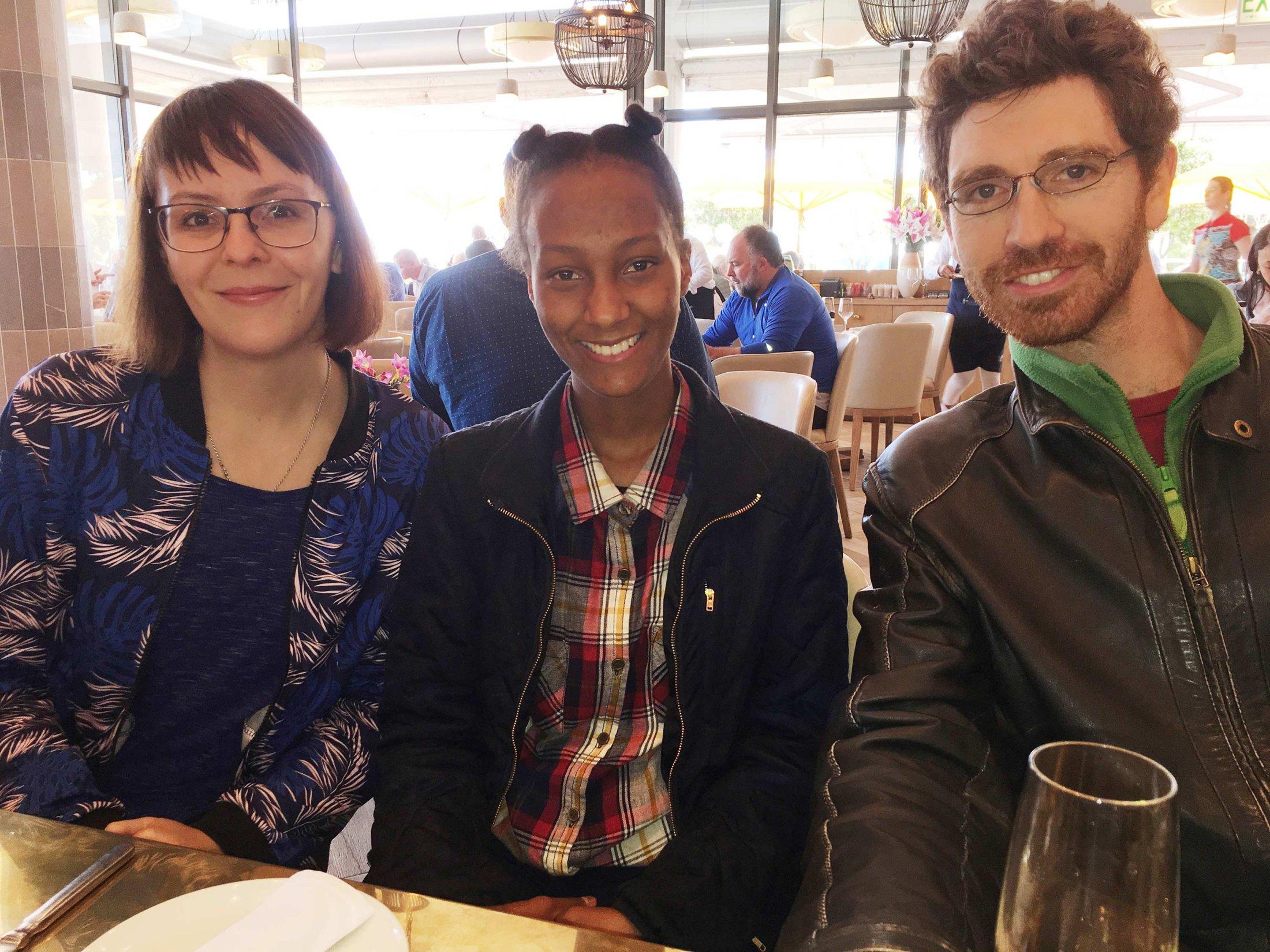 Caro, Alyssa and Simon. Celebrating Alyssa Eksteen's birthday at Lily's in Mouille Point, Cape Town, 06/10/2017.