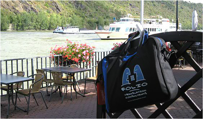 Bag anxiously awaiting a boat trip on the Rhine, Boppard, Germany,  September 2012.