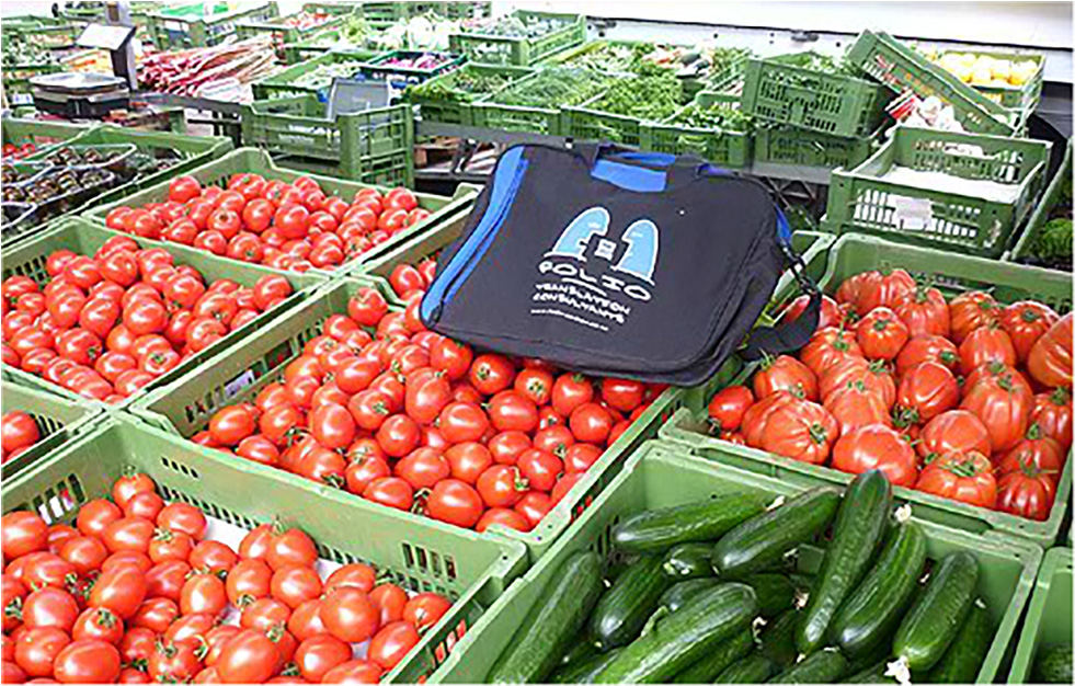 An undecided Bag in vegetarian paradise at the Wochenmarkt, Stuttgart, Germany, June 2012.