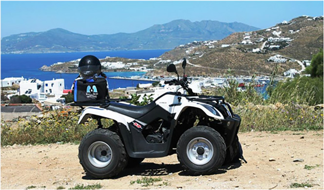 Not quite Easy Rider, but still. Bag on Mykonos island, Greece,  April 2014.