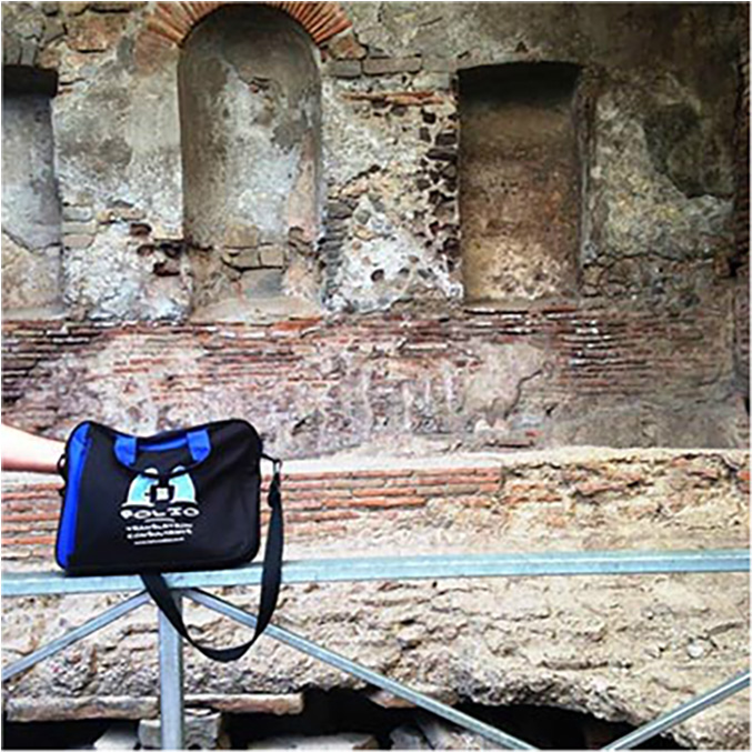 Bag in the ancient bathhouse at Pompeii, Italy, July 2015.