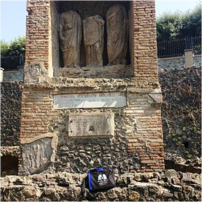 Bag taking a break in front of an ancient tomb. Pompeii, Italy, July 2015.