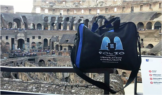 Bag contemplating the scene where so much history was written in blood. Colosseum, Rome, Italy, May 2015.