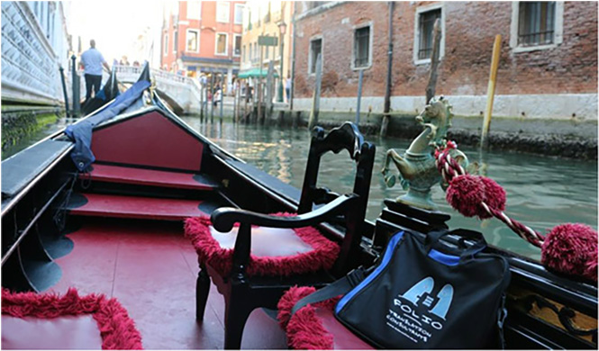 Bag doing the canals of Venice in upholstered style. Italy, May 2015.