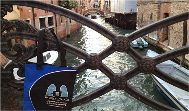 Lost in reveries, Bag admiring the view of a romantic canal in Venice, Italy, October 2012.
