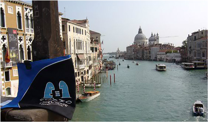 This gorgeous vista of the Grand Canal from the Rialto bridge quite literally took the wind out of Bag's sails. Venice, Italy, October 2012.