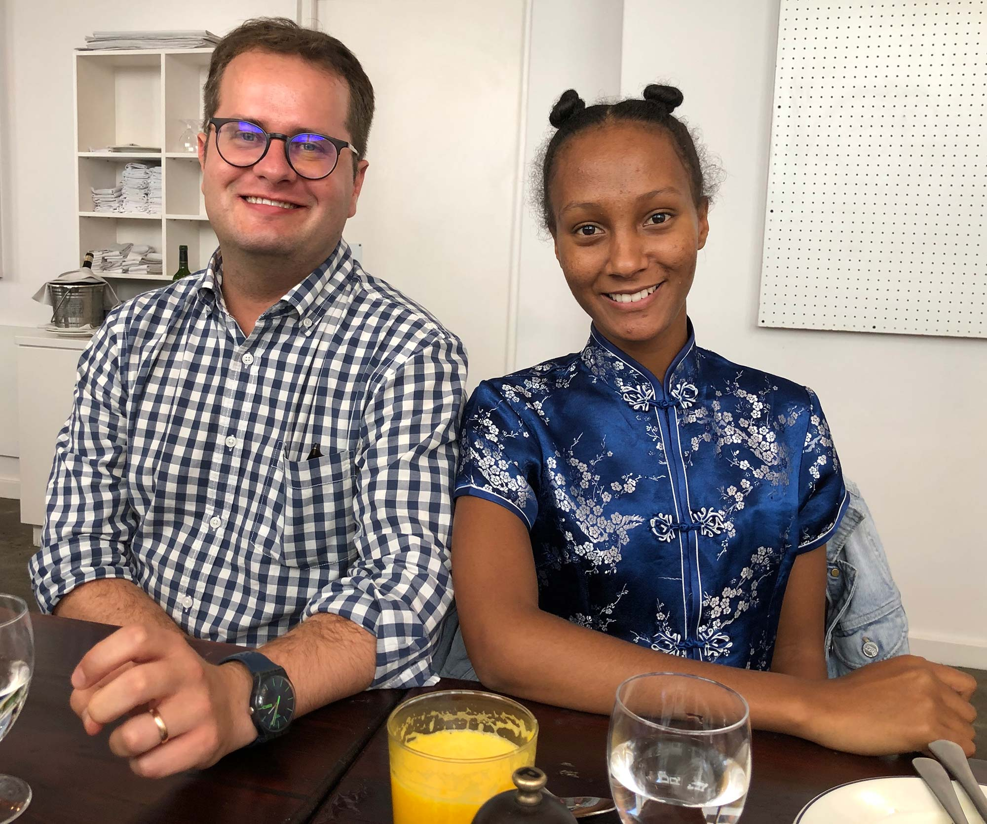 Celebrating Monica's birthday at La Tête, Cape Town, 30.01.2019. Johan and Alyssa.