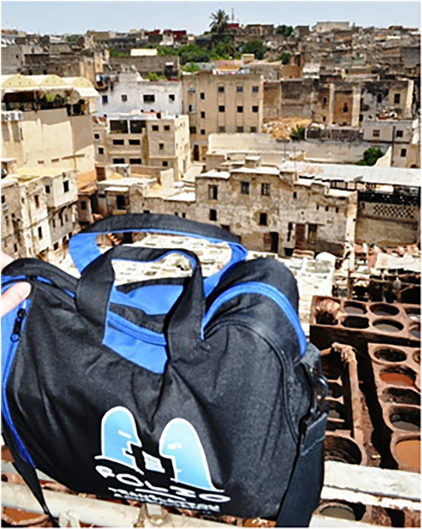 Bag overlooking the famous leather tanneries in the Medina of Fes,  July 2014.