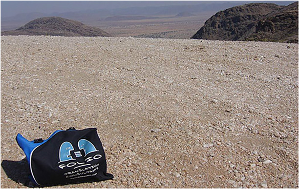 A tired Bag on Van Zyl's Pass overlooking the Marienfluss in Namibia,  June 2013.
