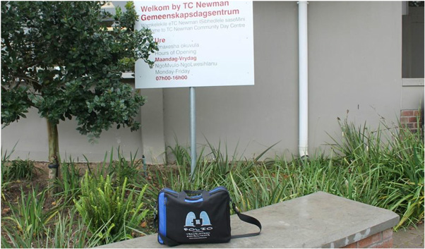 Never one to miss a party, Bag at the entrance to the TC Newman  Community Day Centre in Paarl.