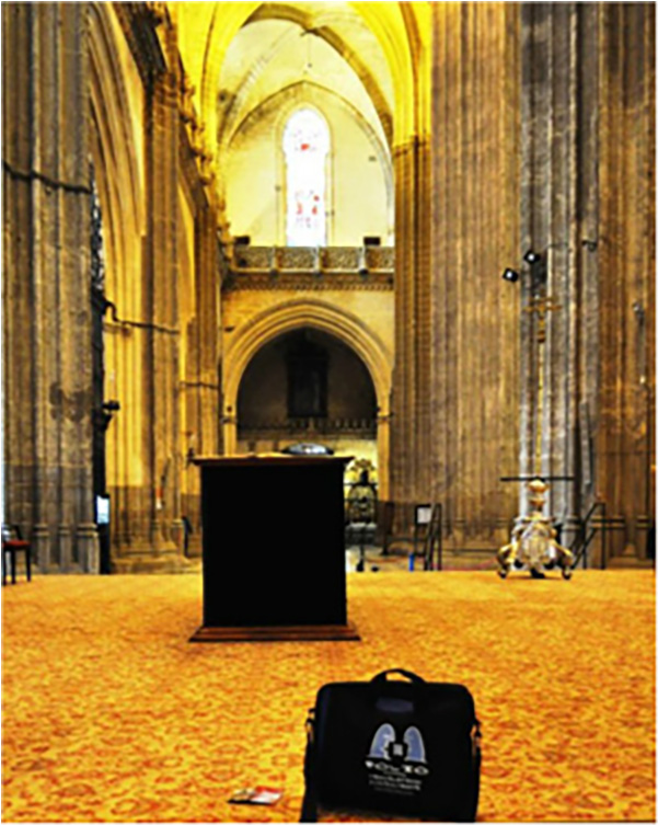 Bag humbled by the gilded glory of Seville cathedral. Seville, Spain, March 2015.