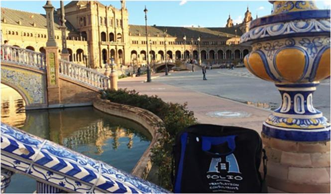 Bag admiring the grand sweep of Plaza de España. Seville, Spain, March 2015.