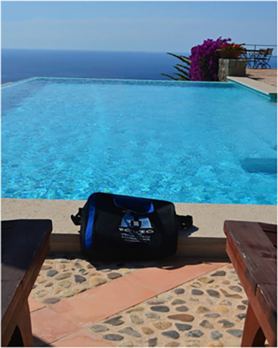 Bag poolside in Deia,  Majorca, July 2014.