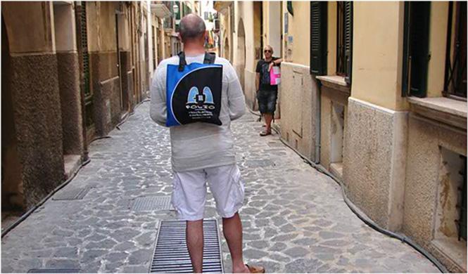 Bag hitching a ride through the Old Town, Palma de Mallorca.