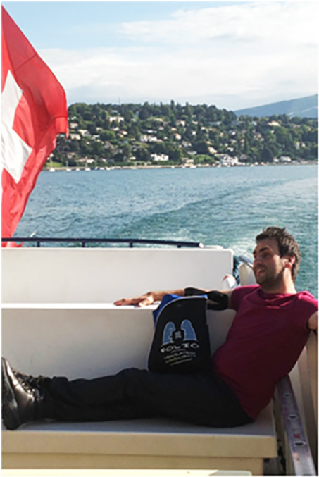 Bag & friend on Lake Geneva, Switzerland, September 2014.