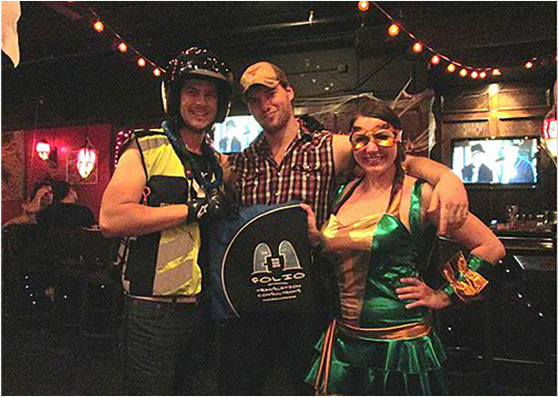 Cowabunga! The traffic cop's got friends, a lumberjack and a ninja turtle!.