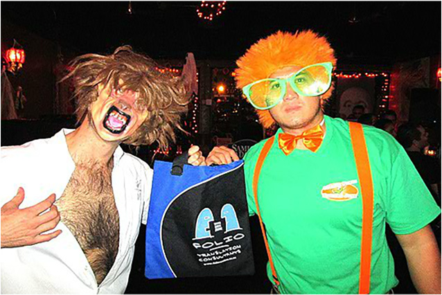 Sandwiched between a hairy werewolf and an orange clown,  Bag doesn't know if he should laugh or howl!