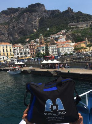 Bag arriving by boat in Amalfi, Italy. July 2017.