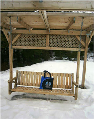 Bag having a swinging time in Hammonds Plains, Nova Scotia, Canada, May 2015.